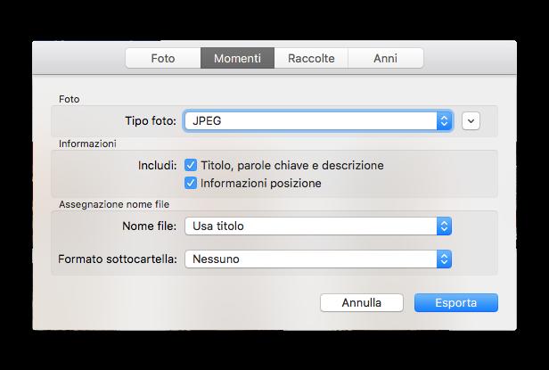 esporta mac